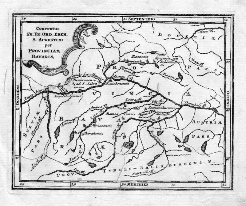 1731  Bayern Karte Augustiner Kloster Kupferstich antique print Steidlin