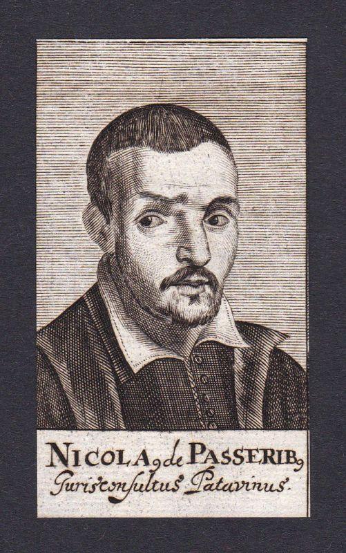 17. Jh. Nicolai de Passeribus / jurist Jurist Genua Portrait Kupferstich