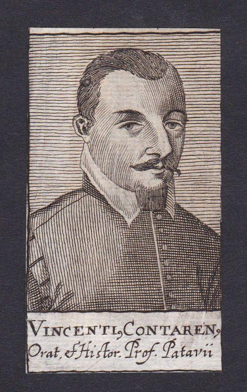 17. Jh. Vincenti Contarenus / professor Professor Padova Portrait Kupferstich
