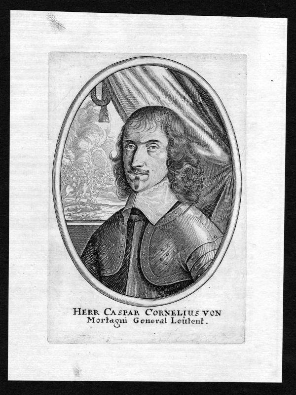 17. Jh. Caspar Cornelius von Mortagni Portrait Kupferstich antique print