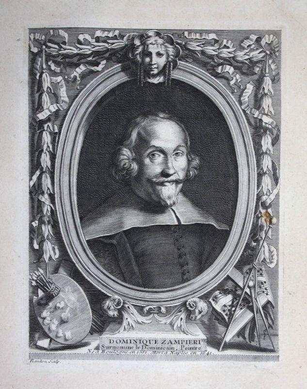 18. Jh. Domenichino Maler painter pittore Kupferstich Portrait engraving