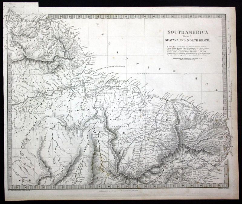 1836 Guayana North Brazil South America engraving map Karte SDUK