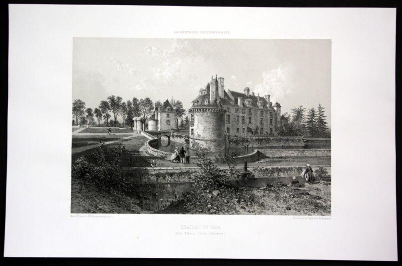 Ca. 1860 Chateau du Plessis de Vair vue Bretagne Frankreich France Lithographie
