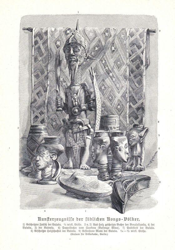 1890 Kongo Zentralafrika Afrika Central Africa Völker people Congo Kunst Grafik