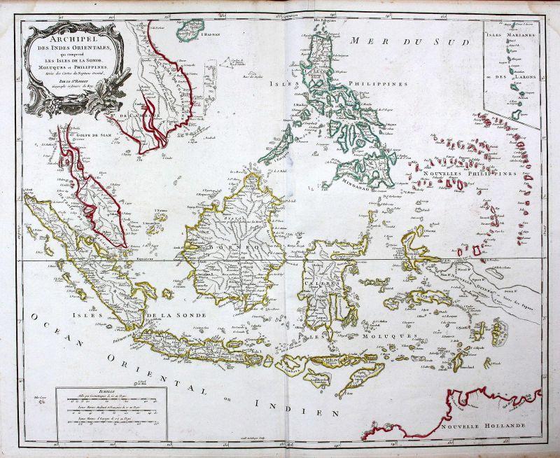 1750 Philippinen Philippines Indonesien Indonesia Malaysia Karte Kupferstich