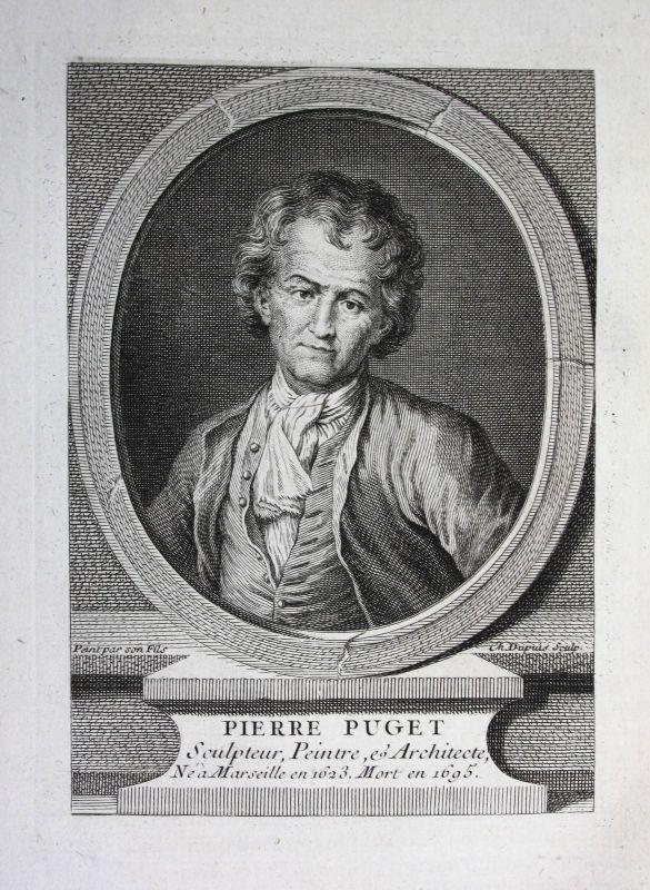 18. Jh. Pierre Puget painter peintre Kupferstich Portrait gravure sculpteur