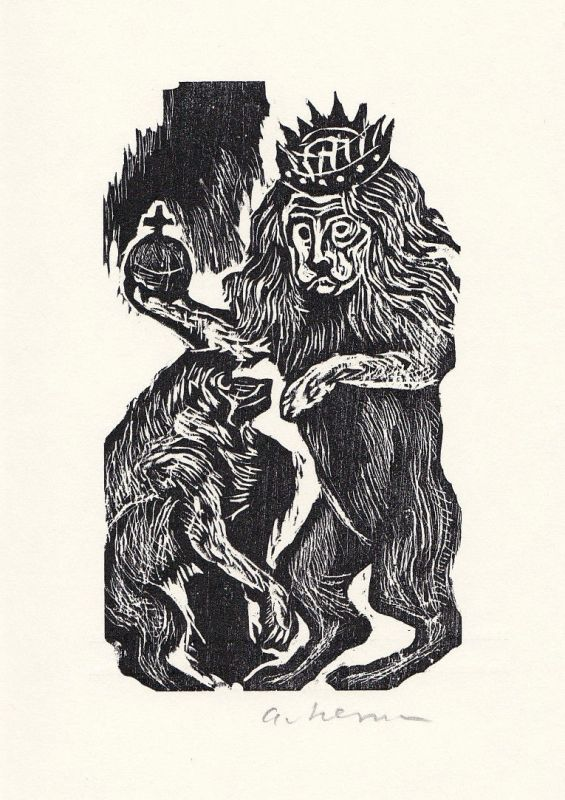 1970 Helmut Ackermann G. K. Pfeffel Holzschnitt zu einem Gedicht signiert