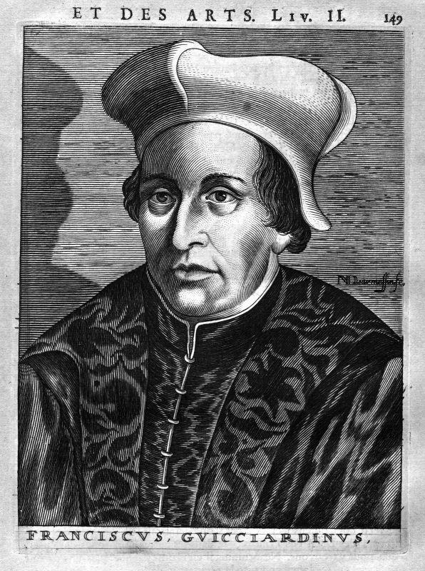 Ca. 1680 Francesco Guicciardini Politiker Italia Kupferstich Portrait engraving
