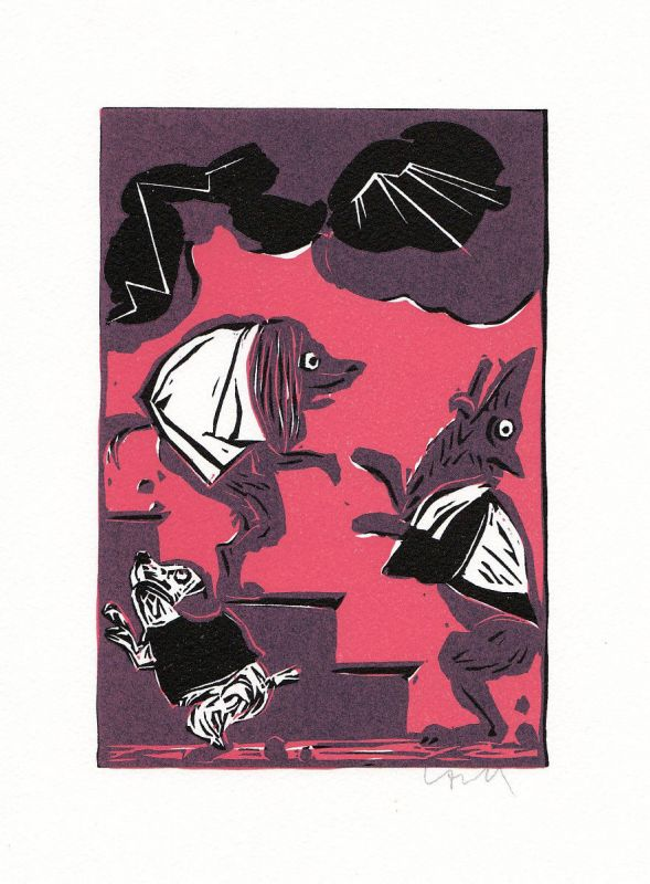 1974 Benno Huth Linolschnitt zu Fabel Phaedrus Canum legati ad lovem signiert