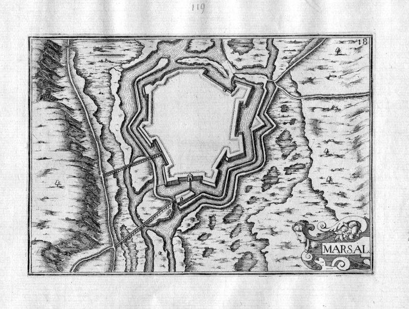 Ca 1630 Marsal Moselle Lothringen Kupferstich Karte map engraving gravure Tassin