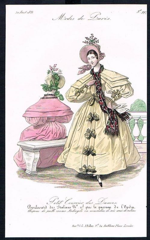 1833  Biedermeier Mode Kupferstich victorian fashion antique print Paris e 61715