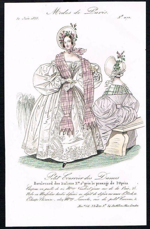 1835 Biedermeier Mode Kupferstich victorian fashion antique print Paris et 61757