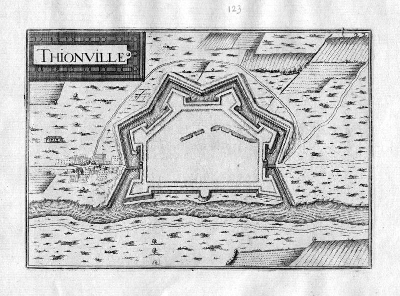 Ca 1630 Thionville Moselle France Kupferstich Karte map engraving gravure Tassin