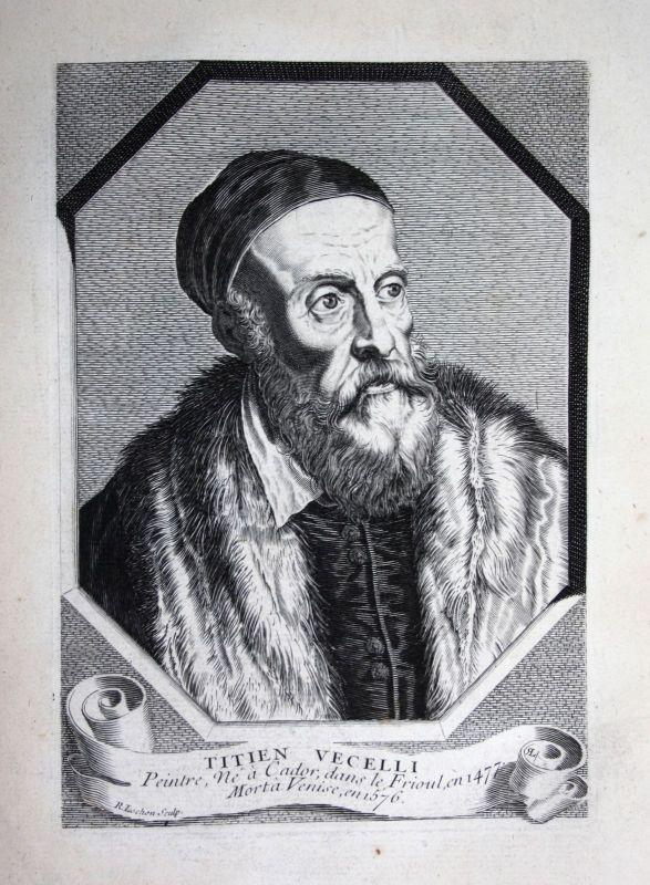 18. Jh. Tiziano Vecellio Tizian Maler pittore painter Kupferstich Portrait
