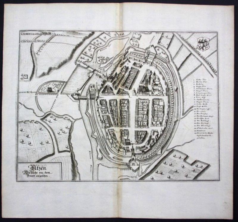 Uelzen / Stadtplan - Gesamtansicht - Karte Kupferstich Merian Merian: