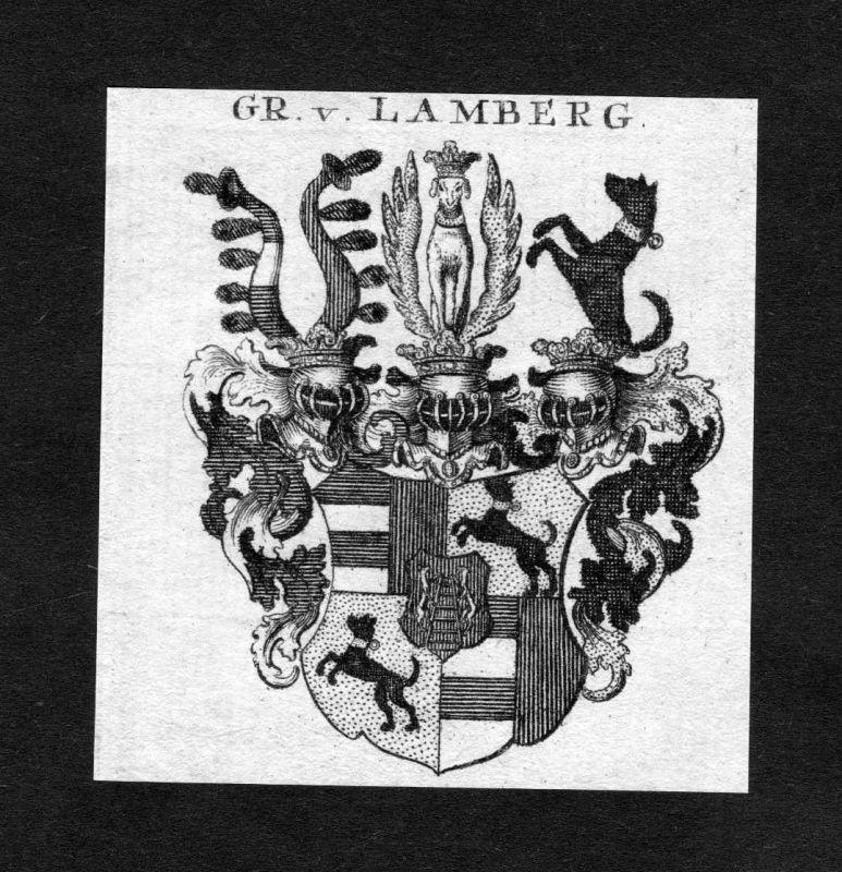 1820 - Lamberg Wappen Adel coat of arms heraldry Heraldik Kupferstich