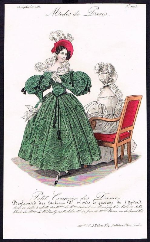 1833  Biedermeier Mode Kupferstich victorian fashion antique print Paris e 89258