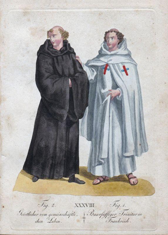 Geistlicher Leben / Barfuß Trinitarierorden Frankreich France Orden Kupferstich