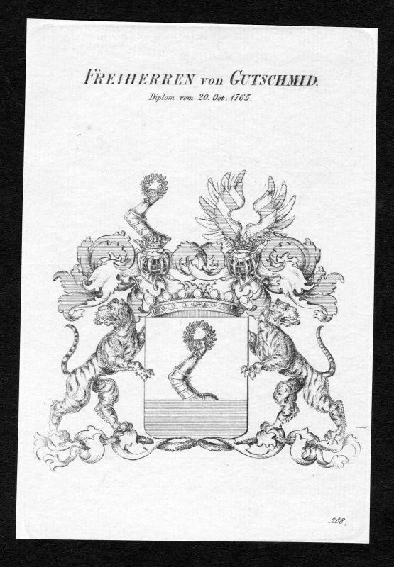Ca.1820 Gutschmid Wappen Adel coat of arms Kupferstich antique print heraldry