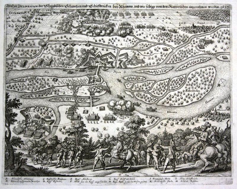 Ca. 1640 Rhinau Alsace Elsass gravure carte vue Kupferstich antique print Merian