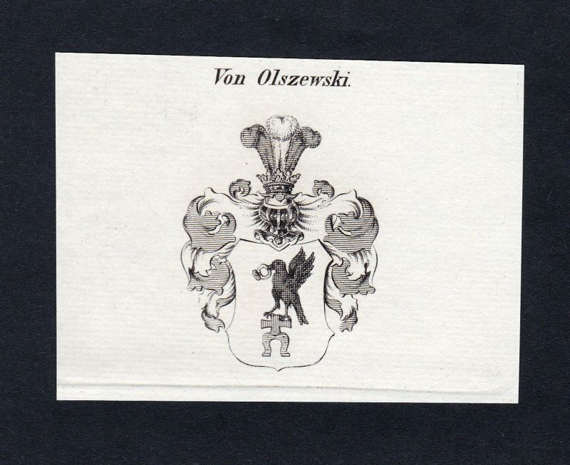 1820 Olszewski Wappen Adel coat of arms heraldry Heraldik Kupferstich engraving