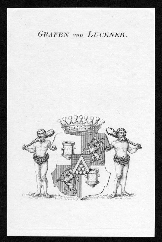 Ca. 1820 Luckner Wappen Adel coat of arms Kupferstich antique print heraldry