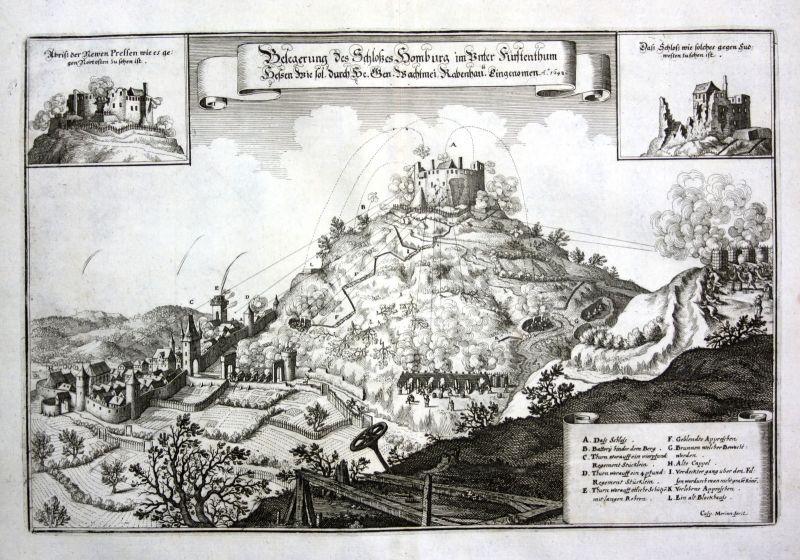 1650 Schloss Homburg Efze Schlacht Ansicht view Kupferstich antique print Merian