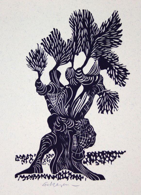 1987 Helmut Ackermann Andalusischer Ölbaum Linolschnitt signiert Grafik