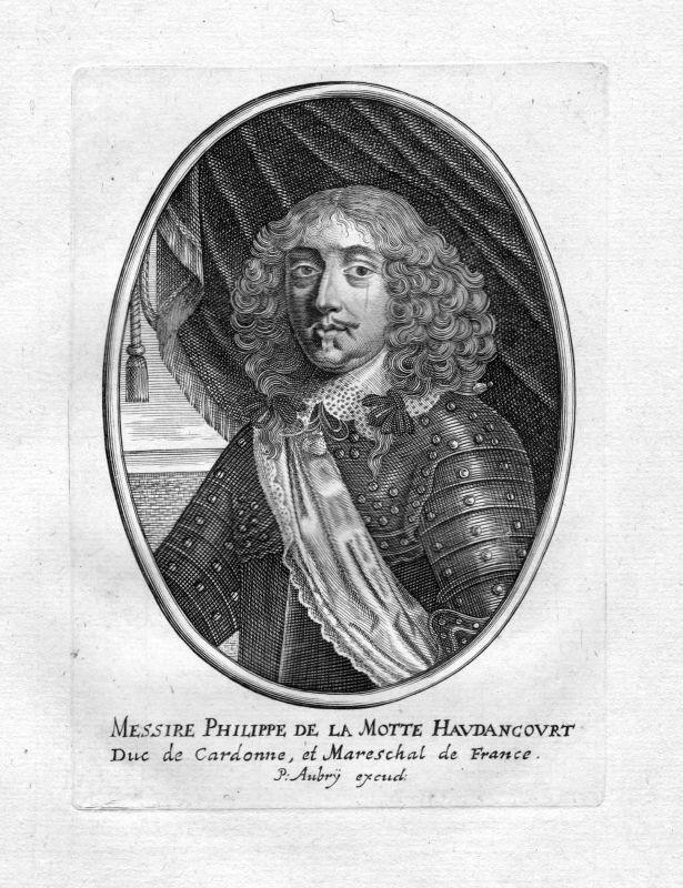 1650 Philippe de La Mothe-Houdancourt Portrait Kupferstich antique print Aubry