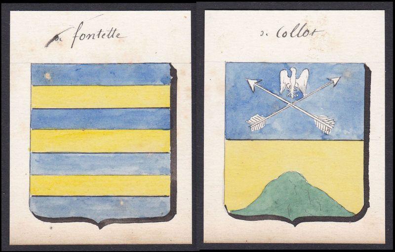 19. Jh. Fontette Collot Frankreich France Wappen Adel coat of arms Aquarell
