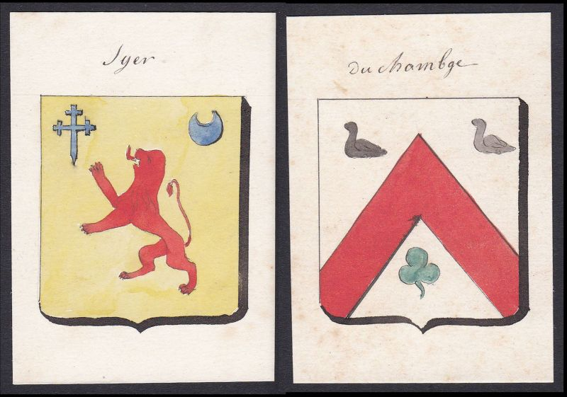 19. Jh. Sayer Syer Changé Frankreich France Wappen Adel coat of arms Aquarell