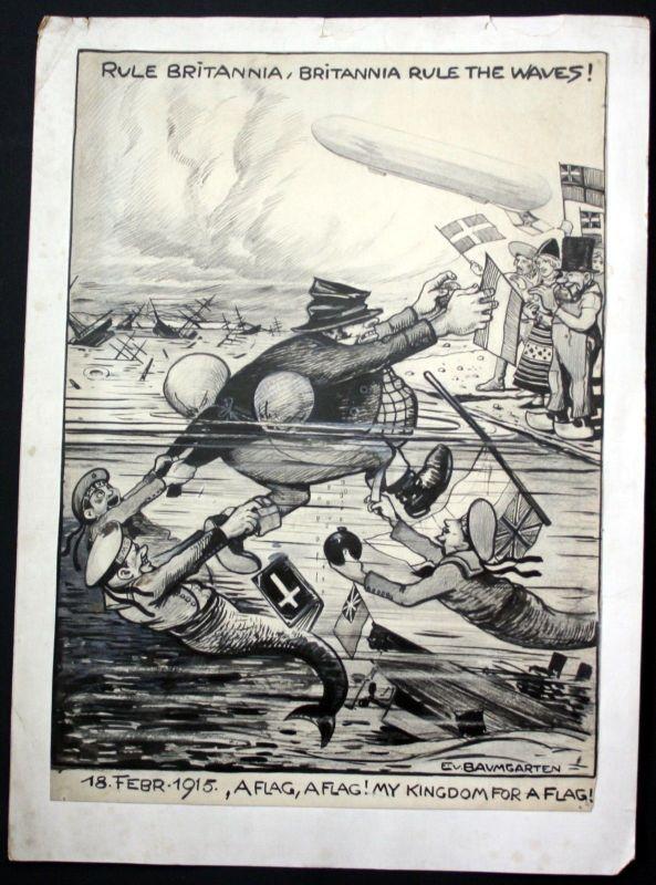 1915 Eugen von Baumgarten Propaganda Zeichnung England world war Weltkrieg
