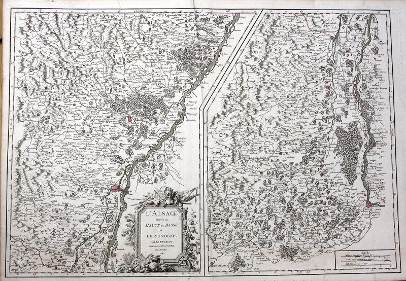 1754 Alsace France gravure carte Basel Breisach Strasbourg Robert de Vaugondy
