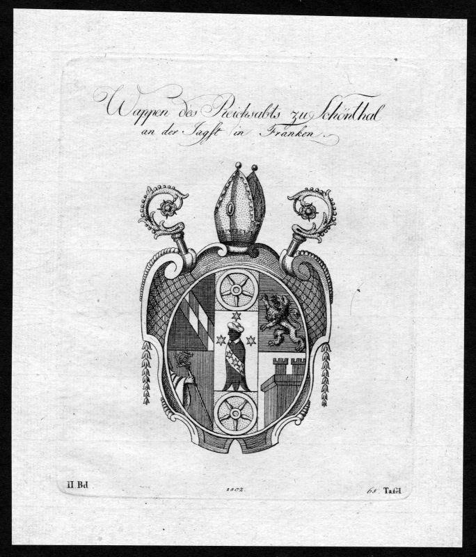 1802 - Kloster Schönthal Franken Franconia Wappen Adel coat of arms Heraldik