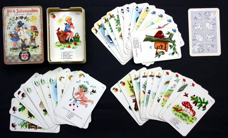 1950 Die 4 Jahreszeiten Quartett Kartenspiel Spielkarten Schmid München