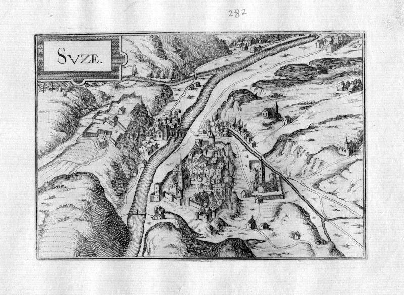 1634 Susa Piemonte Piemont acquaforte incisione Tassin Kupferstich engraving