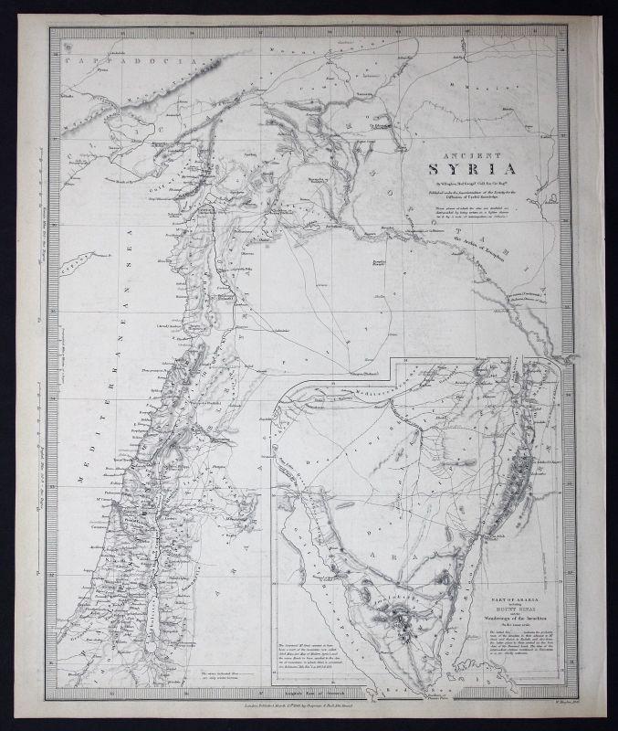 1843 Syria Syrien Cyprus Zypern Palestine Palästina SDUK Karte map