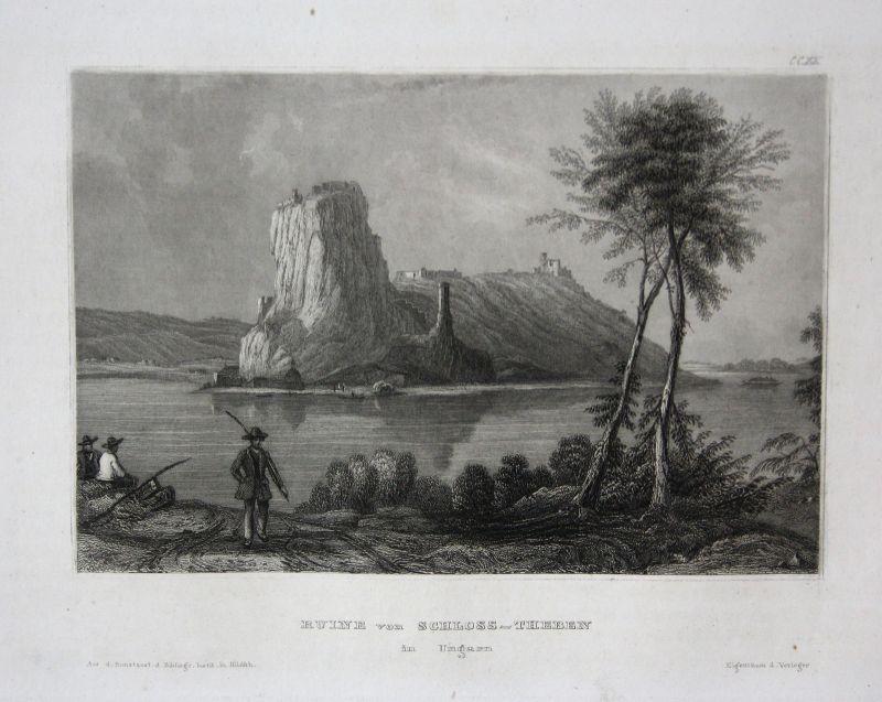 Burg Theben Devin Castle Ungarn Hungary Ansicht view Stahlstich ca. 1850