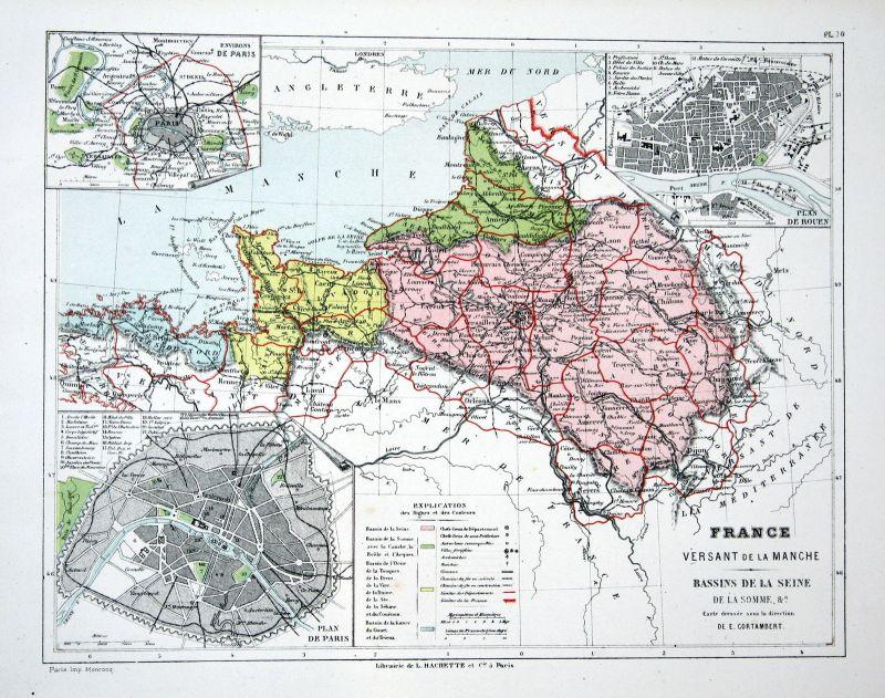 France Paris Frankreich Weltkarte Karte world map Lithographie lithograph  Litho