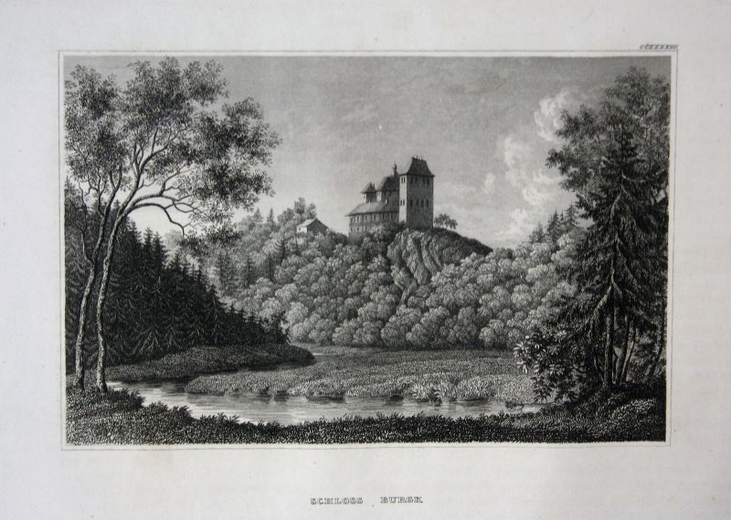 Schloss Burgk Thüringen Ansicht view Stahlstich antique print ca. 1850
