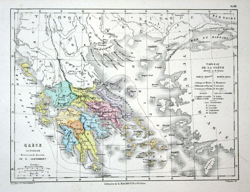 Greece Griechenland Athens Weltkarte Karte world map Lithographie lithograph