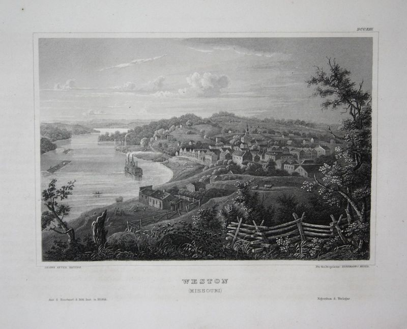 Weston Missouri USA Amerika America Ansicht view Stahlstich antique print 1850