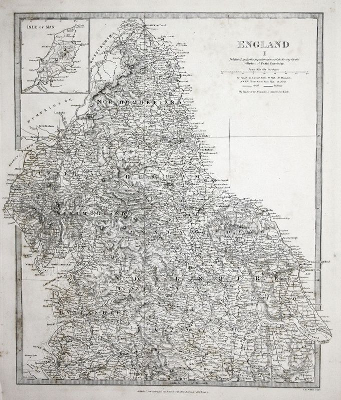 1831 England Great Britain Kontinent continent Yorkshire Riding SDUK Karte map