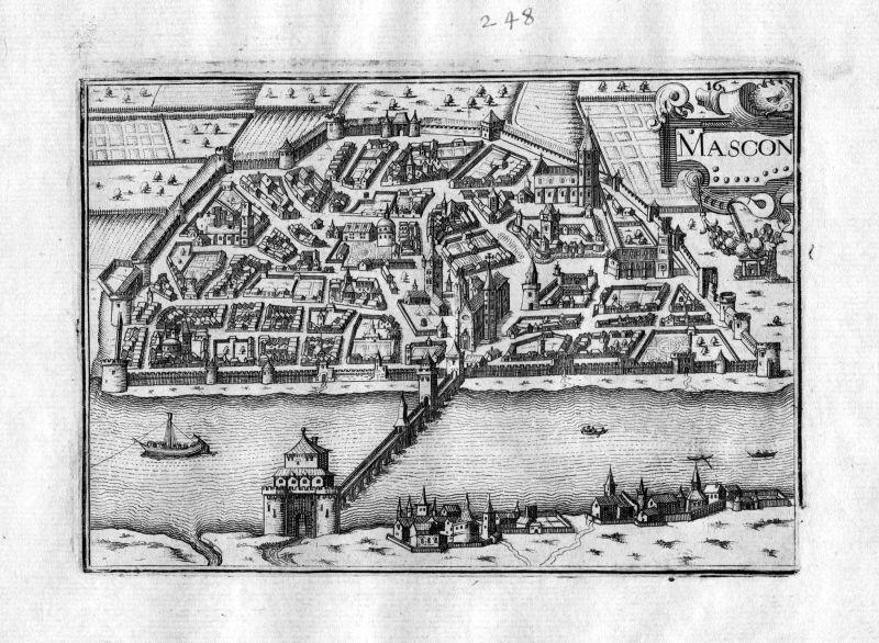 1634 Macon vue Saone et Loire Tassin gravure estampe Kupferstich engraving