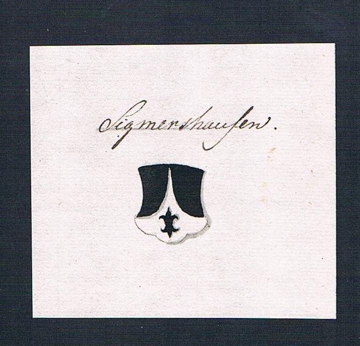 18. Jh. Sigmertshausen Handschrift Manuskript Wappen manuscript coat of arms