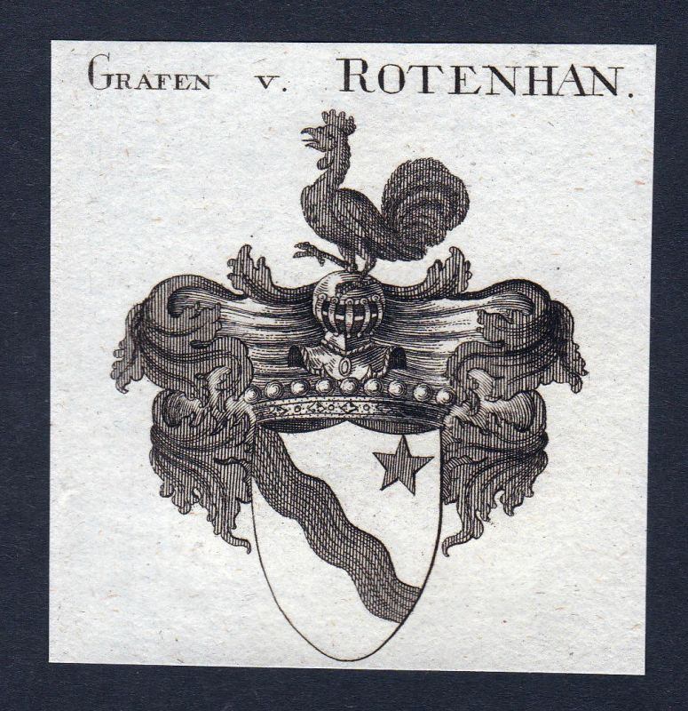 1820 Rotenhan Rottenhan Franken Wappen Adel coat of arms Kupferstich engraving
