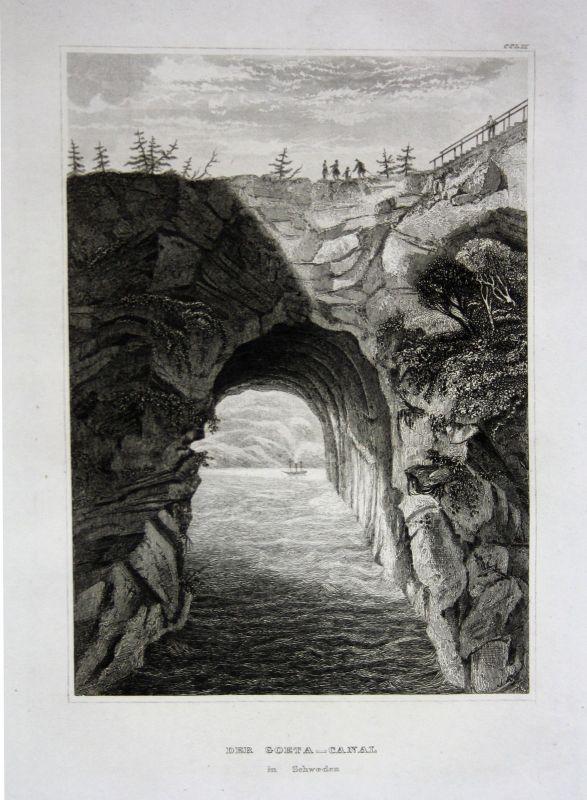Göta-Kanal Götaland Schweden Sweden Sverige Ansicht view Stahlstich 1850