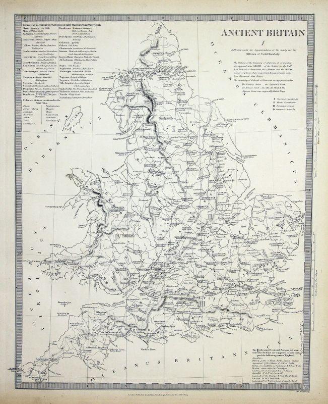 1834 Britain England Kontinent continent Damnonii Parisii SDUK Karte map