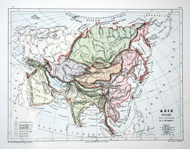 Asia Asien China Arabia India Weltkarte Karte world map Lithographie lithograph