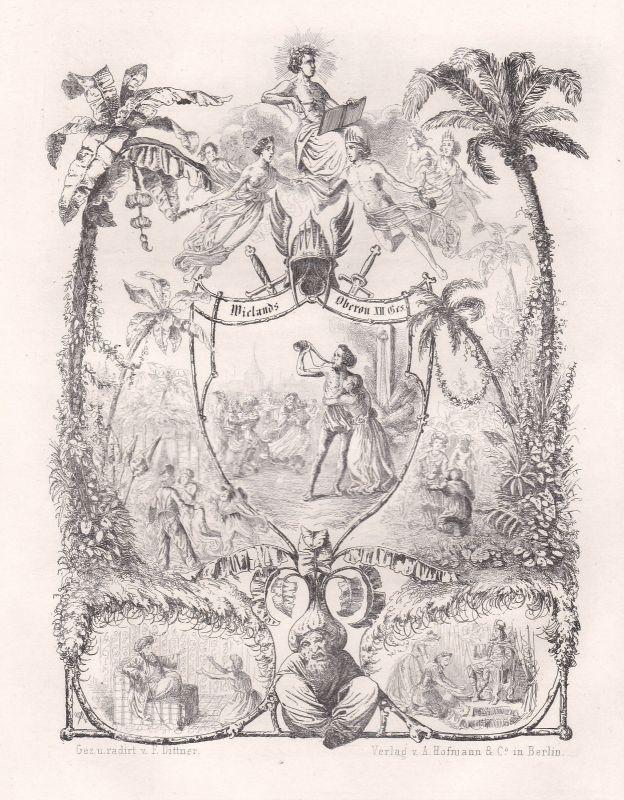 1848 Oberon Versepos Gedicht Radierung etching Dittner Christoph Martin Wieland